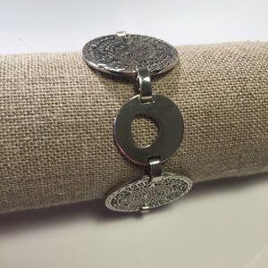 925 Sterling Silver Aztec Coin link bracelet